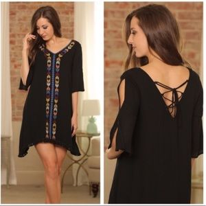 Infinity Raine Black Boho Open Shoulder Dress SZ S